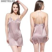 Fashion Solid Satin Chiffon Women Nightgown Slinky Nightdress Sheer Chemises Sleeveless Sleepwear Trim Nightie sp0077