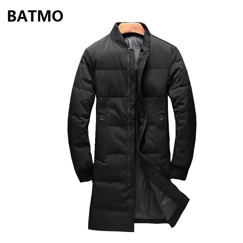 BATMO 2018 new winter high quality 90% white duck   down   long jackets men,men's Long parkas, warm trench   coat   plus-size 75126