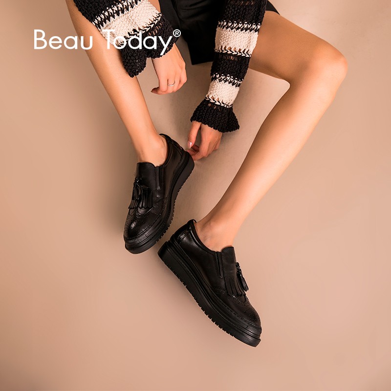 BeauToday Women Flat Platform Loafers Fringe Tassel Quality Cow Leather Round Toe Lady Brogue Shoes Handmade