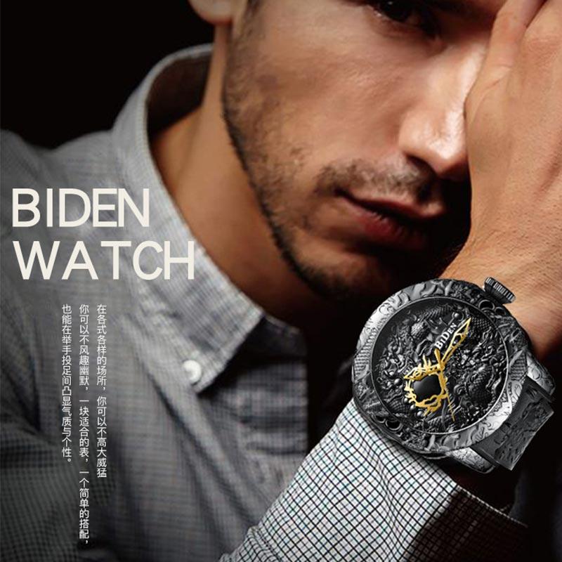 Black Men Watches Fashion 3D Engraved Dragon Relogio Masculino Luxury 2018 Top Brand Quartz Watch Waterproof Sport Male Clock Lahore