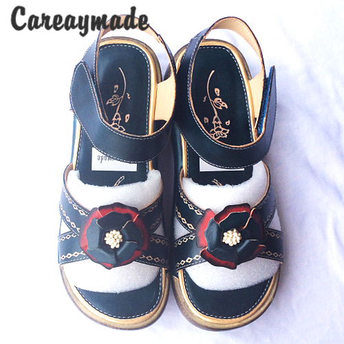 Careaymade-Folk style Head layer cowhide pure handmade Carved shoes,the retro art mori girl shoes,Women's casual Sandals1601-3 careaymade new 2017 summer head layer cowhide pure handmade shoes the retro art mori girl flat singles shoes ivory white&green