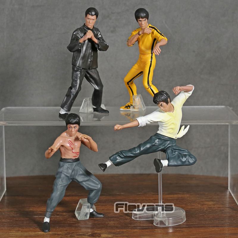 Cool King of Kung Fu Bruce Lee PVC Action Figures Toy 4pcs/set image