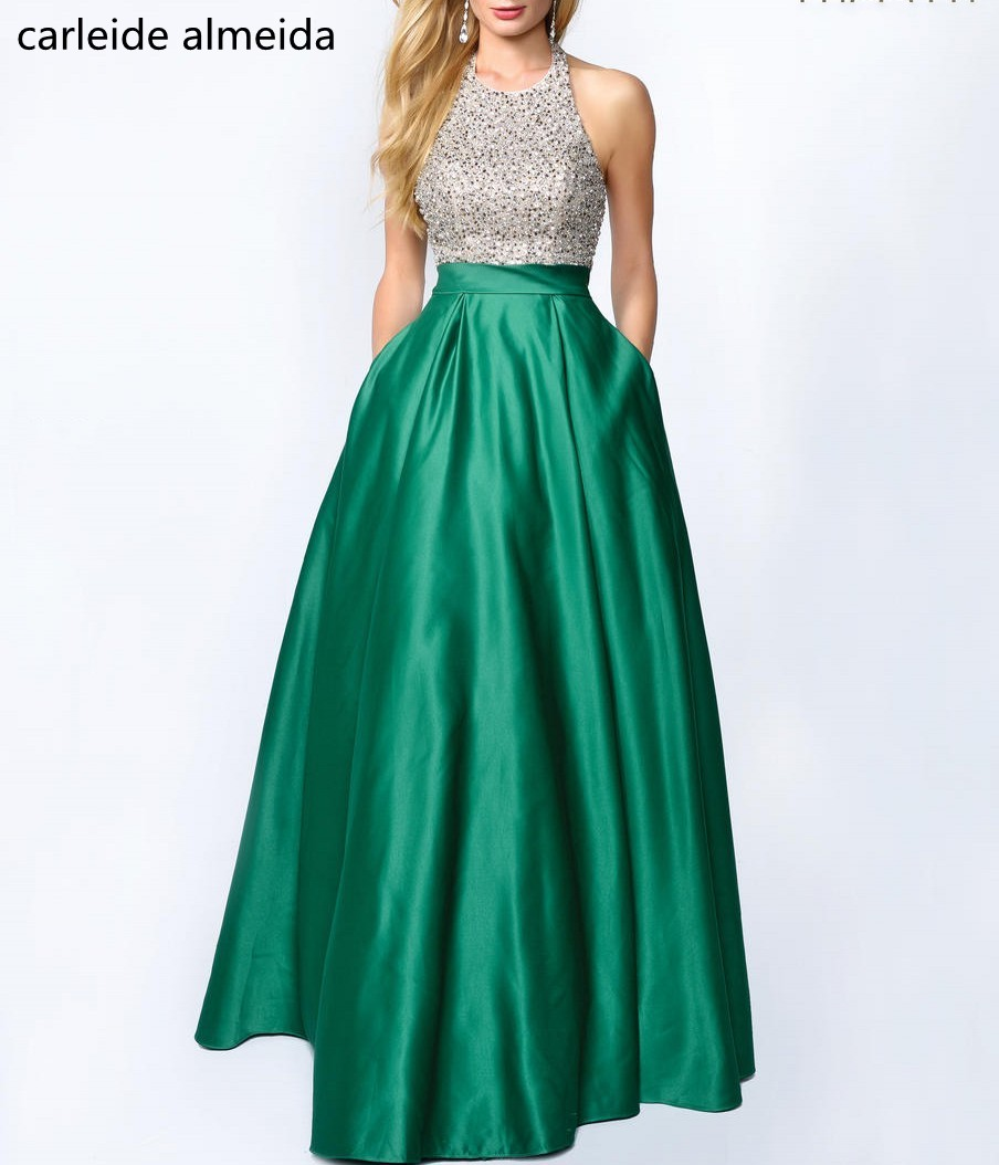 A-Line Satin Green   Prom     Dress   Beaded Bodice Vestidos de fiesta largos elegantes de gala Floor Length Formal   Dress   Women