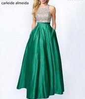 A Line Satin Green Prom Dress Beaded Bodice Vestidos de fiesta largos elegantes de gala Floor Length Formal Dress Women