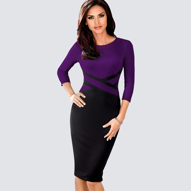 Autumn Women Elegant Patchwork Sheath Bodycon Work Office Business Pencil Dress 1