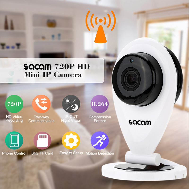 SACAM CCTV Security and Surveillance HD 720P IP Camera with two-way Audio  Ir-cut Night Vision WiFi Wireless IP Cameras for Home sacam cctv home security wifi wireless ip camera pan tilt hd 720p ir cut night vision with two way audio ptz network webcam