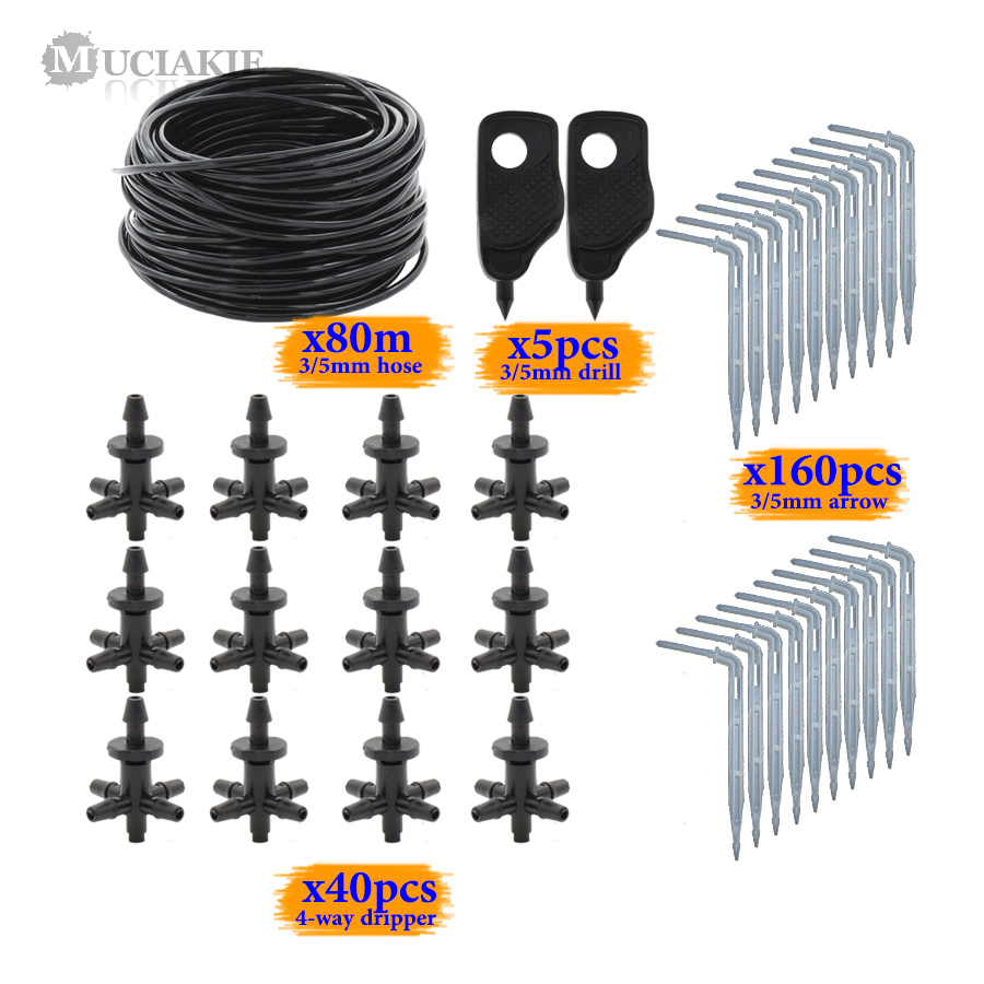 MUCIAKIE 5-Way Water Drop Emitter System Kits 3/5mm PVC Hose Home Balcony Drip Irrigation Set Greenhouse Dripper