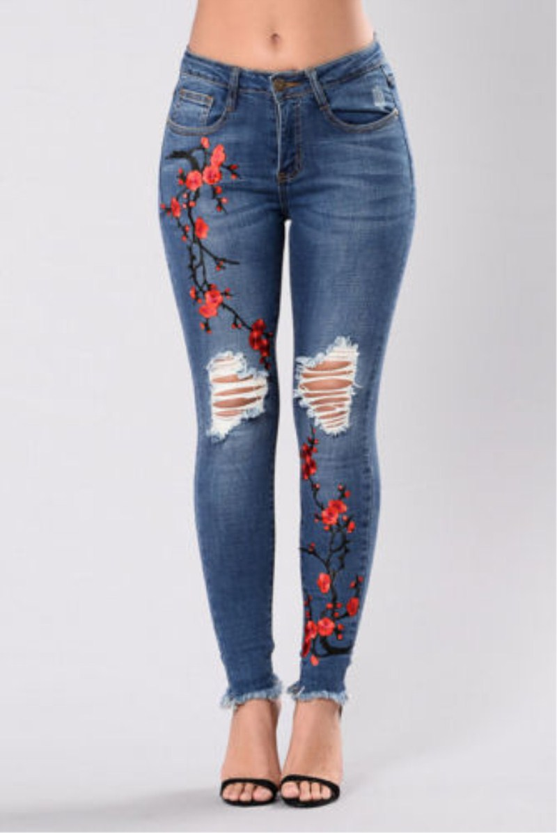 Plus Size Women Skinny Ripped Pants High Waist Stretch Jeans Embroidery Floral Hole Destroyed Slim Pencil Jeans Denim Trousers plus size skinny high waist jeans