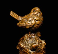 Chinese Folk Collect Boxwood Wood Carving Lucky Bird Feng Shui Figurine Statue