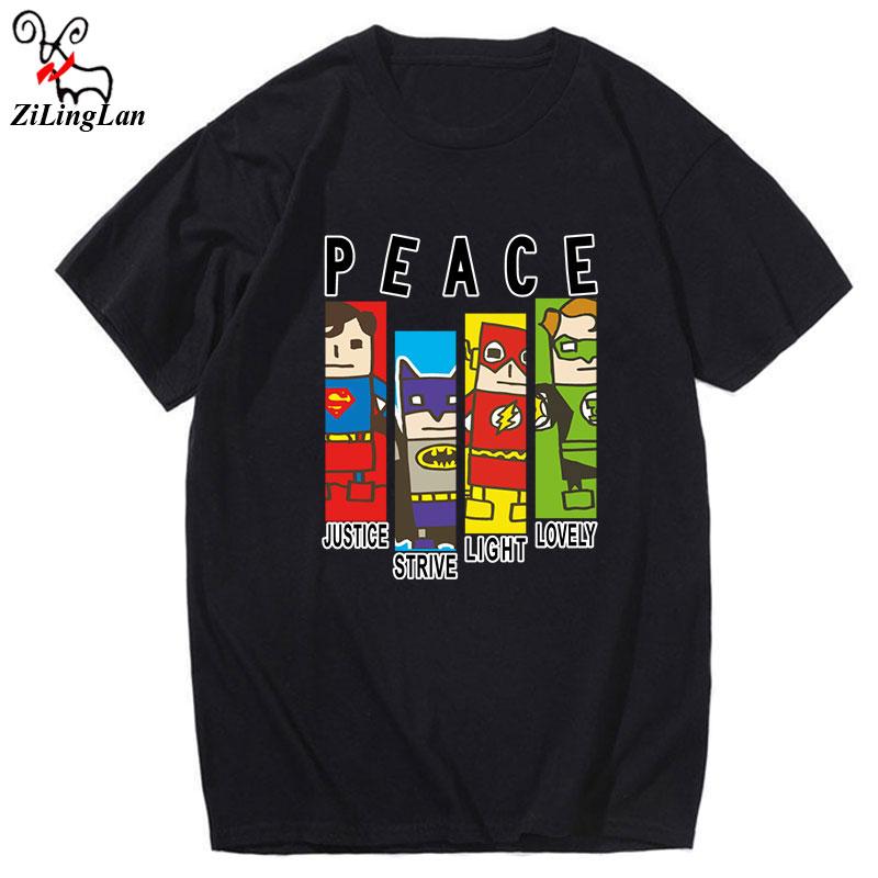 ZiLingLan Fashion peace printed Short Sleeves Funny T-Shirts Cotton Tees Men Cartoon Funny Tops USEUR Size