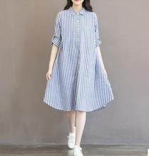 Plus Size Vertical Striped Long Maternity Shirt 2019 Autumn Loose Cotton Linen Pregnancy Dress Clothes for Pregnant Women QL6987 vertical striped frill embroidered tape detail dress