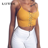 KAYWIDE 2017 Summer Tank Tops Series Women T Shirt Solid Knitted Tops Sexy Hollow Out Tanks