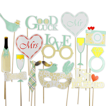 16pcs Mint Wedding Photo Booth Props Kit with Gold Foiled Edge on a Stick Signs Outdoor Photography