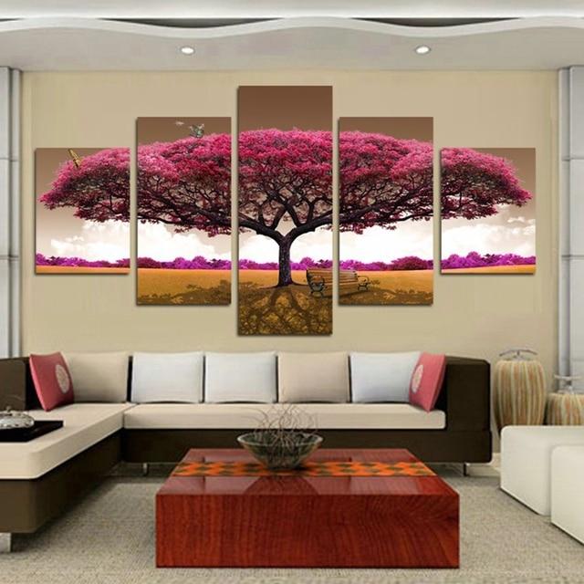 canvas wall art pictures frame kitchen restaurant decor 4 pieces purple tree landscape living room hd