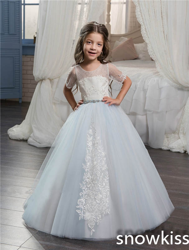 2017 sky blue sheer crew neck flower girl dress for wedding with lace appliques open back toddler pageant prom dresses with bow