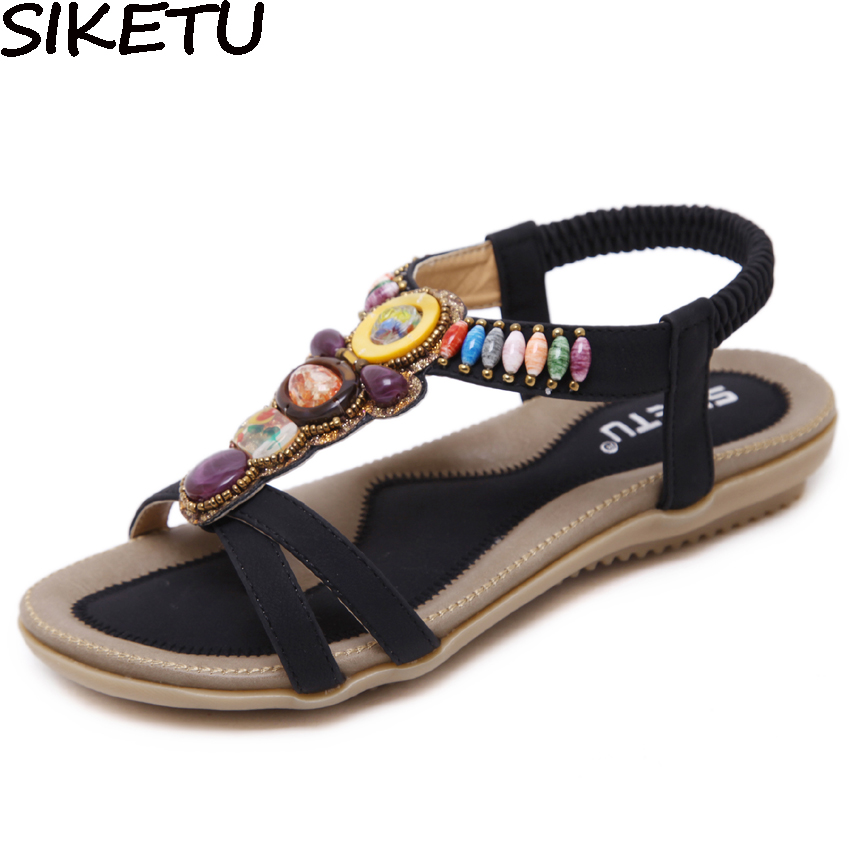 SIKETU Ethnic Sandals Hippie Shoes Boho Flat-Heel Open-Toe Preppy-Style Plus-Size Summer