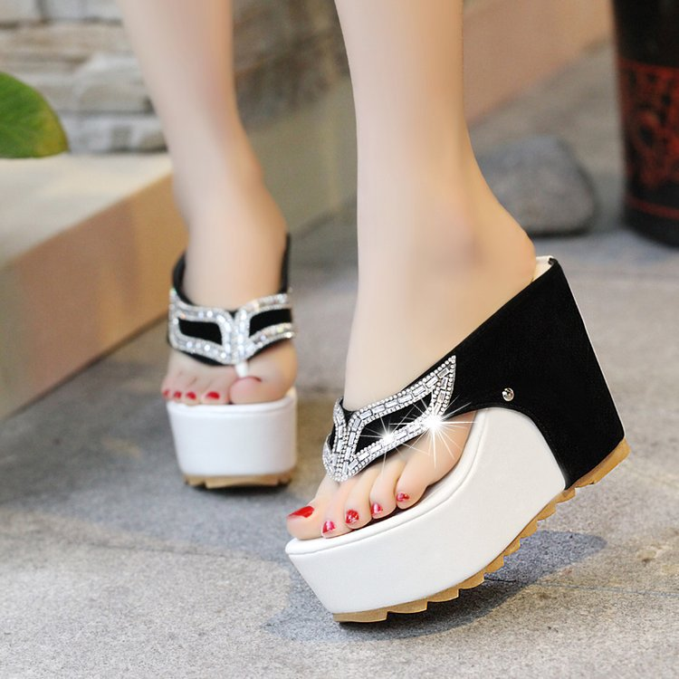 Crystal Women Slippers Sexy High Heel 11CM Mules  Platform Mules Ladies Slippers Femal Slip On Sandals Shoes chaussures mujer