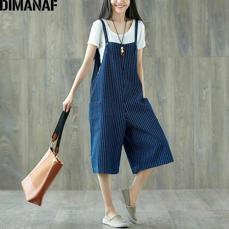 DIMANAF Women   Jumpsuits   Plus Size Wide Legs Jeans Pants Striped Denim Blue Loose Summer 2018 Oversized Female Large Big Trousers