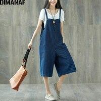 DIMANAF Women Jumpsuits Plus Size Wide Legs Jeans Pants Striped Denim Blue Loose Summer 2018 Oversized Female Large Big Trousers