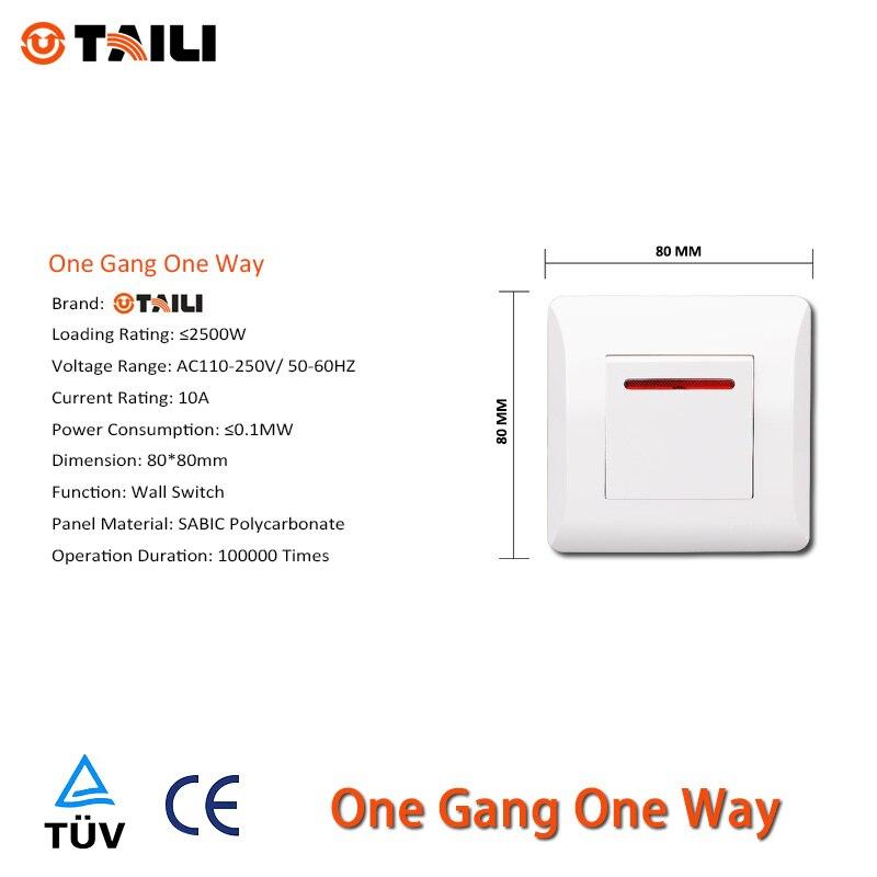 Manufacture TAILI Luxury ,EU Standard Wall Switch,1 Gang 1 Way,Light ...