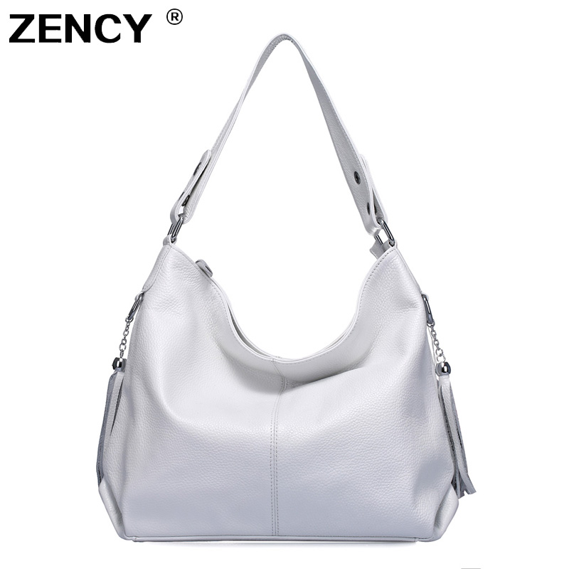 ZENCY 100 Genuine Leather Women Handbag First Layer Cow Leather Long Handle Shoulder Bag Satchel White