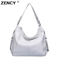 ZENCY 100% Genuine Leather Women Handbag First Layer Cow Leather Long Handle Shoulder Bag Satchel White Silver Gray Pink Bags