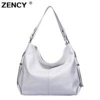 ZENCY 100% Soft Genuine Leather Women Handbag First Layer Cow Leather long Handel Messenger Shoulder Bag Satchel White Pink Bags