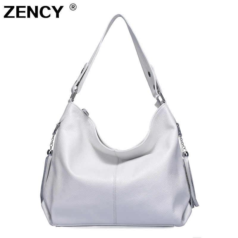 04be446699d9 ZENCY 100% натуральная кожа женская сумка первый слой коровья кожа длинная  ручка сумка через плечо