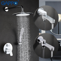 GAPPO Wall Bathroom Shower Faucet Set Rainfall Shower Faucet Bathtub Shower Tap Chrome Waterfall Big Shower
