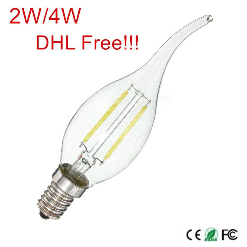 100 pièces E12/E14 LED bougie lumière 2 W/4 W AC220V 240 V LED ampoule lampe LED Filament ampoule DHL/Fedex livraison gratuite!!!