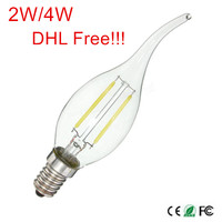 100Pcs E12/E14 LED Candle light 2W/4W AC220V 240V led bulb lamp LED Filament Bulb DHL/Fedex Free shipping!!!