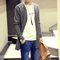 Knit autumn outfit leisure men's long jumpers v-neck cardigan coat