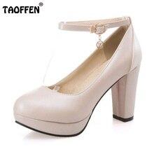 e68b7ad8 Taoffen 4 colores tamaño 33-47 de tacón alto Zapatos mujeres plataforma tobillo  Correa gruesa Tacones Bombas simple sexy mujeres.