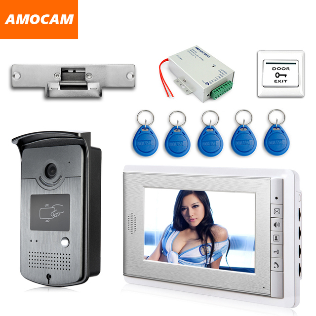 """7 """"צבע מסך וידאו דלת טלפון אינטרקום מערכת RFID כרטיס מצלמה Strike מנעול חשמלי + ספק כוח + דלת יציאה וידאו פעמון"""