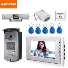 """Sistema de intercomunicación de teléfono y puerta con pantalla de 7 """", tarjeta RFID, Cerradura eléctrica de cámara + fuente de alimentación + timbre de vídeo de salida de puerta"""