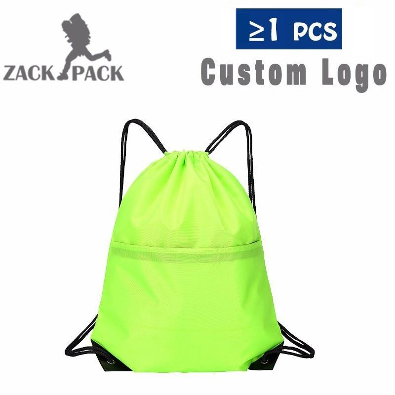 Drawstring Bag Custom Logo Simple Cotton Pouch Training Canvas Backpack  Waterproof Sack Mochila Knapsack Bag