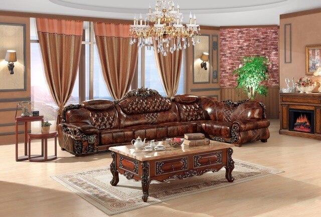 Europäischen leder sitzgruppe wohnzimmer sofa China holzrahmen L ...