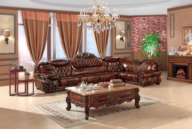 Wood Frame Living Room Furniture Small Without Coffee Table European Leather Sofa Set China Wooden L Shape Corner Luxury Large Antique