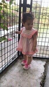 Image 5 - 2PCS ילדה הקיץ ורוד שמלת סט חמוד אנגליה אירופה פס שמלת וינטג ספרדית שמלת עבור תינוק בנות 100% איכות כותנה