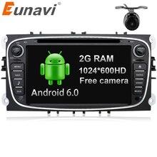 Eunavi Quad Core 2 г Оперативная память Android 6.0 2 DIN dvd-плеер автомобиля Радио GPS Navi для Ford Focus galaxy с аудио tereo головное устройство