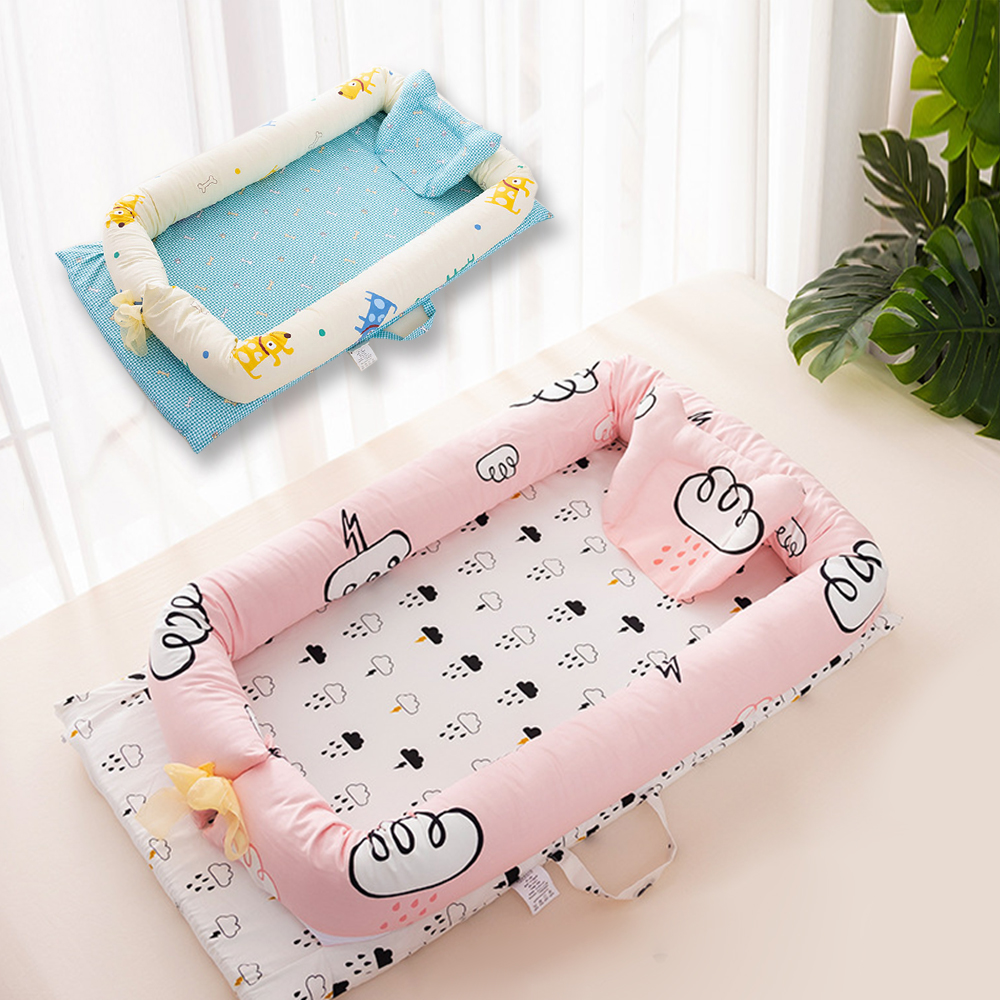 Portable Cartoon Baby Bed Baby Nest Soft Cotton Crib Washable Infant Crib Travel Bed With Pillow Toddler Cradle Children's Bed
