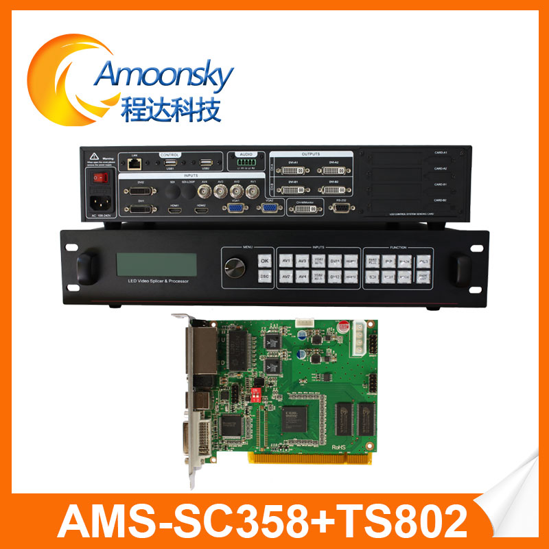 amoonsky external hdmi matrix 4k hdmi video wall processor sc358 installed linsn ts802 used with led display receiving