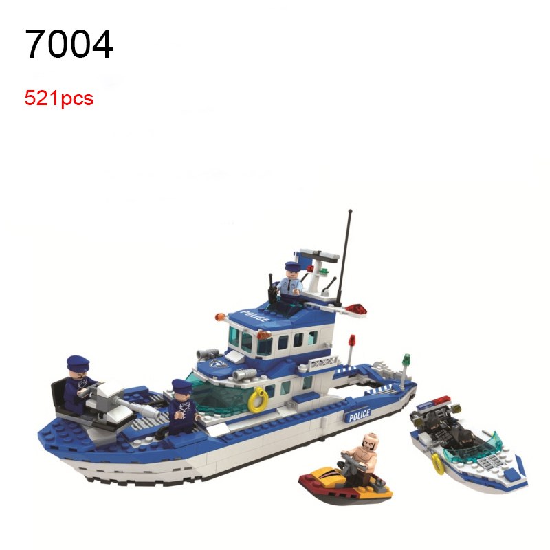 Winner 7004 521pcs City Police Water Marine Patrol Boat Building