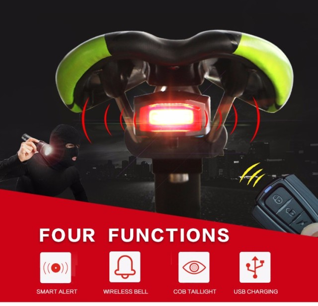 Waterproof Bicycle Tail Rear Light USB Bike Burglar Lamp Alarm Luz Trasera Bicicleta Anti-theft Alarm Telecontrolled Bike Light