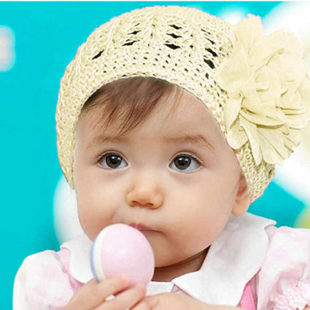 Baby Girl Summer Hat Children Flower Cap Baby Boy Knitting Hats beauty Solid Toddler Caps Fashion Sun Kids Hat