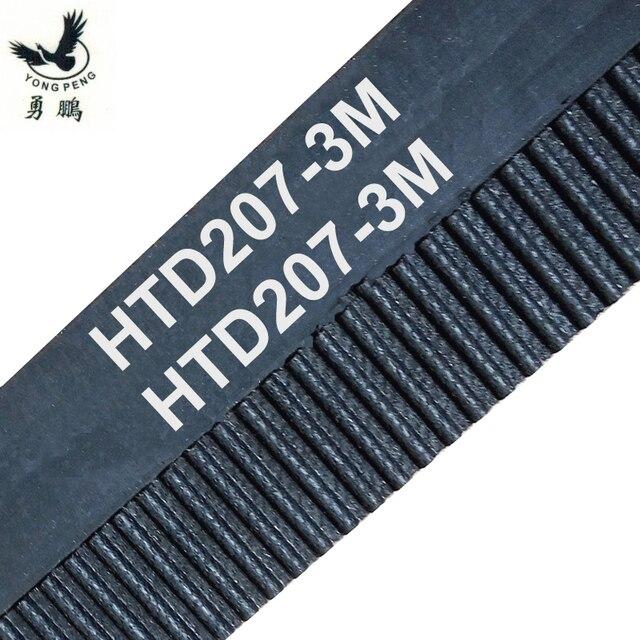 10 unids/pack HTD3M longitud de la correa de distribución 207mm dientes 69 ancho 9mm goma cerrado lazo 207-3M-9 207 HTD 3 M 9 polea máquina CNC
