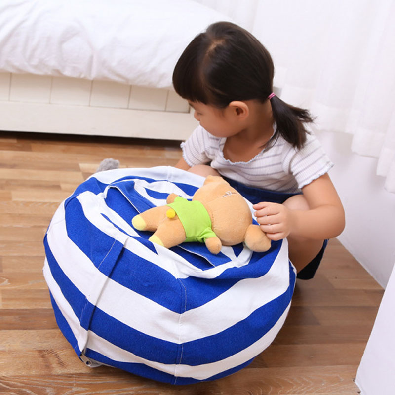 Fashion Stuffed Animal Storage Bean Bag Sack Kids Toy Organizer Canvas for Plush Toys To ...