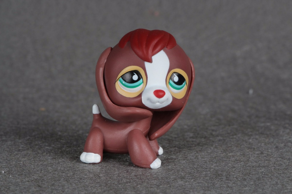 New pet Genuine Original LPS #849 Brown Red Beagle Dog Green Eyes Gift Puppy Kids Toys lps new style lps toy bag 32pcs bag little pet shop mini toy animal cat patrulla canina dog action figures kids toys
