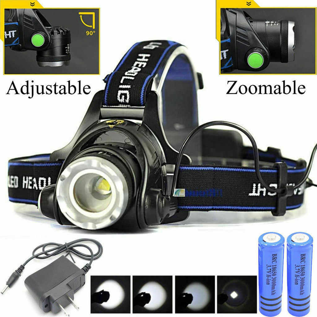 Hoofd Lamp Oplaadbare Head light T6 LED Tactische Koplamp Zoomable + Lader + 18650 Koplamp Zaklamp Koplampen Lampe frontale