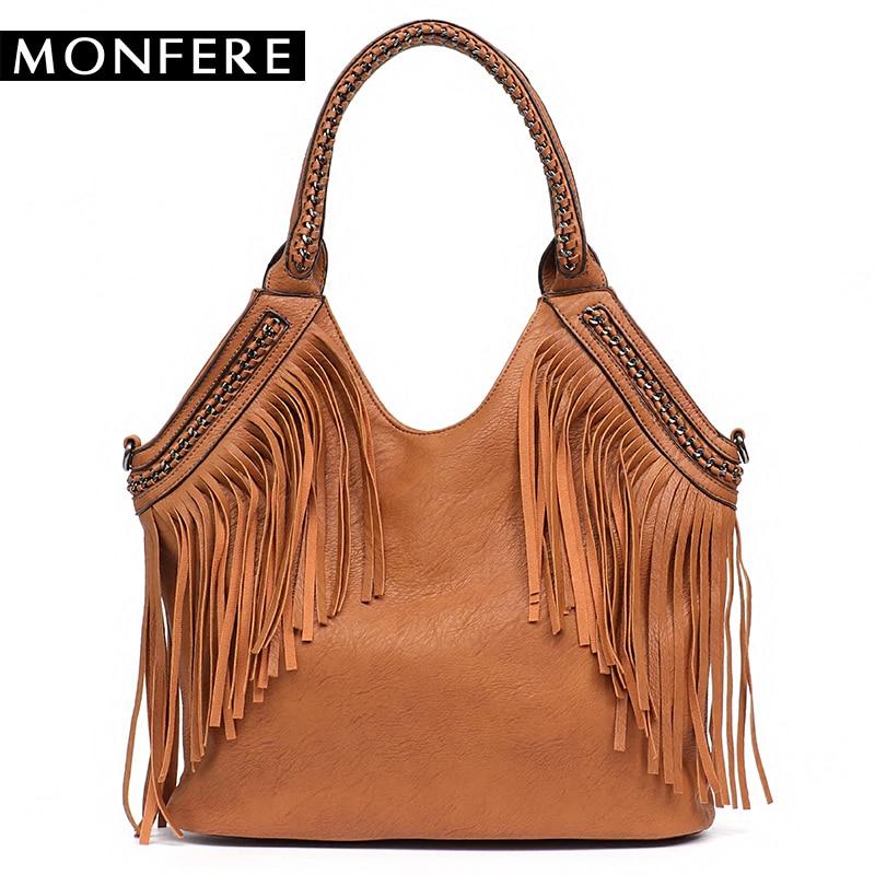 MONFERE Fashion Female Shoulder Bags Large Tassle Women Tote Bags Chain Handle Messenger Bag Vegan Leather Hobo Fringe Handbag цена 2017